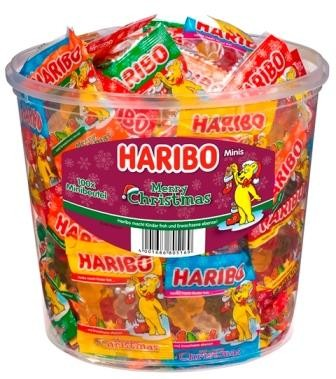 Haribo Merry Christmas 100 Minibeutel in Runddose | CaterPoint.de