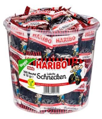 Haribo Lakritz Schnecken 100 Minibeutel in Runddose | Caterpoint.de