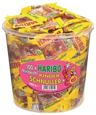 Haribo Kinder Schnuller Minibeutel 100 Stück in Runddose | CaterPoint.de