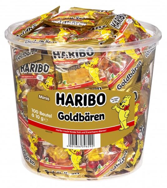 Haribo Goldbären Minibeutel 100 Stück in Runddose | CaterPoint.de
