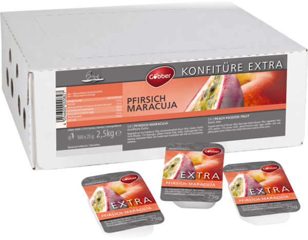 Göbber Extra Pfirsich-Maracuja Konfitüre 100 x 25g   CaterPoint.de