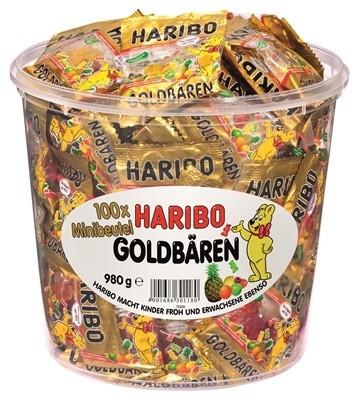 Haribo Goldbären Minibeutel 100 Stück in Runddose   CaterPoint.de